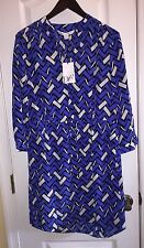 NWT Diane Von Furstenberg DVF Freya Zig Zag Black Silk Shirt Dress Women's 12