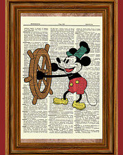 Steamboat Willie Mickey Mouse Dictionary Art Print Poster Picture Disney