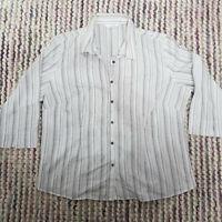 AMARANTO Workwear Buttoned Shirt Size 18 White Striped Cotton Blend Short Sleeve