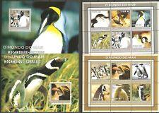 Vögel Pinguine Mosambik 2668/79 + Block 185/186 postfrisch