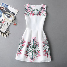 2017 Summer Autumn New Womens Dress Vintage Digital Evening Party Print Dresses