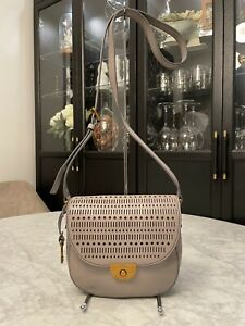 FOSSIL Emi Crossbody Saddle Bag Perforated Leather in Grey LIKE NEW RRP $279