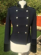 Julien Macdonald Ladies Navy Military Jacket Sizes 12-20, Velvet Collar And Cuff