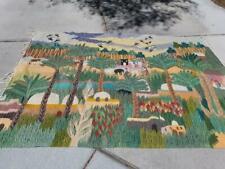 Vintage Weaving Tapestry Wall Hanging Rug Mediterranean House People Animal Palm