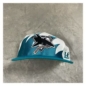 90s VTG San Jose SHARKS Logo Athletic Sharktooth Snapback Hat Cap NHL og Teal