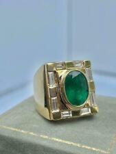 Vintage Colombian Emerald & Diamond  5.11ct  Men'sRing in 18K Yellow Gold Over