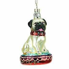 Gisela Graham Glass Pug Collectable Decoration - Hanging Christmas Decoration