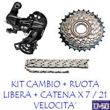 CAMBIO SHIMANO + RUOTA LIBERA 7 V. + CATENA MTB bicicletta  per CITY bike bici