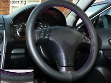 FOR TOYOTA VENZA 08-12 REAL BLACK LEATHER STEERING WHEEL COVER PURPLE STITCH NEW