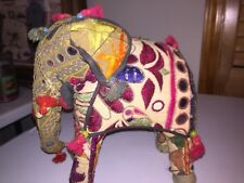 """Vintage Sari Fabric Covered Paper Mache? Elephant Sculpture Bejeweled 10"""" by 10"""""""