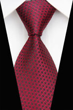 GL0495 Red Black Plaid Man Classic JACQUARD Woven Necktie Tie Casual New Formal