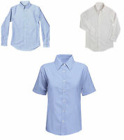 Girls School Blouse  Shirt White Pale Blue Long Short Sleeve Ages 2 to Adults