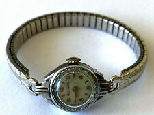Art Deco Bulova Dial Mechanical Gruen Movt 227-6 Ladies Watch Silver Color Runs