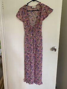 August The Label Sz 8 Pink Floral Midi Dress