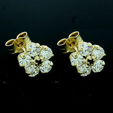 9ct Yellow Gold Synthetic Sapphire and Cubic Zirconia  Stud Earrings