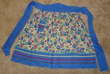 Vintage 50's/60's 1/2 Apron Blue & Floral cotton w/1 pocket