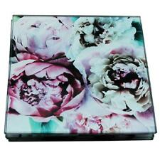 SiL Set of 4 Colourful Floral Bloom Glass Dining Coaster Set