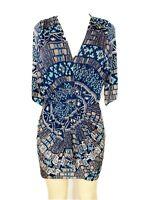 Misa Los Angelos Dress Navy Blue Multicolored Aztec Print size small