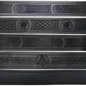 HM Scottish Black Leather Belt Masonic, Thistle Plain Kilt Belts without Buckle