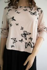 H&M Ladies Jersey Summer Top Butterfly Cotton Loose Fit Blouse Size 12 Comfy M