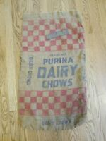 "Original Purina Cow Chow Dairy Feed Sack Bag 19"" x 34"" Great Condition"