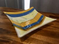 "Beautiful Handmade Art Glass Fused Colorful 9"" Square Bowl, Nice!"