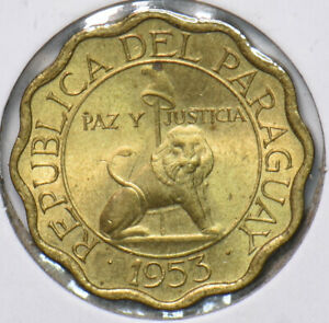 Paraguay 1953 10 Centimos Lion animal  191847 combine shipping