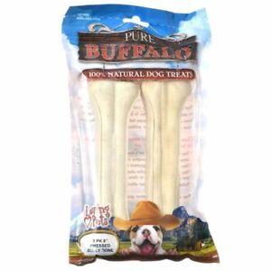 "LM Loving Pets Pure Buffalo Dog Treats - Pressed Bully Bone 8"" Bones (2 Pack)"