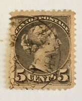 1870 Canada 5c Sc # 38 Slate Grey Well Centered Perf.12. 17mm X 21mm Used