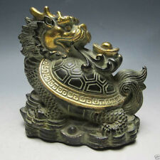Collectables Chinese Old Bronze Hand Work Statue Dragon Turtle