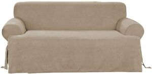 Sure Fit Soft Suede  BOX Cushion - T-SOFA Slipcover - taupe NEW