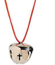 CROSS BELL NECKLACE CHRISTIAN RELIGIOUS BELL SILVERTONE NECKLACE RED CORD
