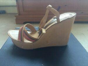 Kurt Geiger Ladies Platform Sole Sandals Tan/Red. EU37 UK4 - Good Condition