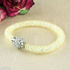 Magnetic Crystal Clasp Mesh Cream Stardust Bracelet  Giftpouch