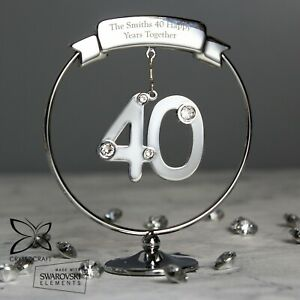 Personalised Crystocraft 40th Birthday or Anniversary Celebration Ornament Gift