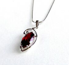 Schmuck Pendant 18K White Gold Plated CZ Round Red RubyNecklace Free Chain