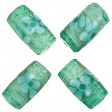 Fused Flower Transparent Dark Green Tube Glass Beads 20x10mm Pack of 4 (A80/4)