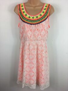 WOMENS VILA NEON CORAL WHITE LACE EMBROIDERED FITTED SHORT SUMMER DRESS MEDIUM