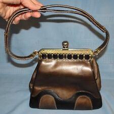 Vtg CONTINENTAL Handcrafted Black & Bronze Leather Shoulder Hand Bag Purse MCM