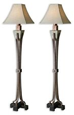 """TWO LARGE 66"""" HAND CARVED SLATE FLOOR LAMP HAMMERED COPPER CRACKLE METAL ACCENTS"""