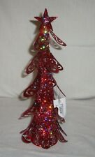 "12"" Metal Sequins Glitter Artificial Christmas Tree Figurine Miniature Red"