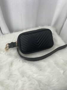 Steve Madden Chevron Quilted Beg Belt Black