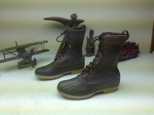 L.L. BEAN MAINE HUNTING SHOE SPORT LACE UP BROWN LEATHER DUCK BOOTS SIZE 7 M