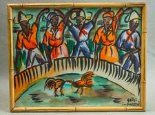 Cool, vintage Haitian painting by André: cockfighting scene. Haiti. Cock fight