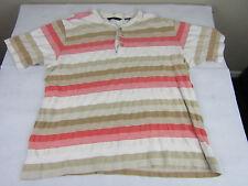 Big Men's 3XL SEAN JOHN Shirt Cotton Red Coral pink White brown Stripes