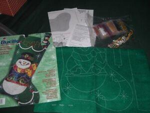Vtg 2001 Bucilla Whimsical Snowman Embroidery Stocking Felt Sequins Beads  #Lk5
