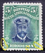 Rhodesia 1913-24 DIE2 P14 ADMIRAL 5/-SG239 HP+FP VARIETIES AS HIGHLIGHTED VF MLH