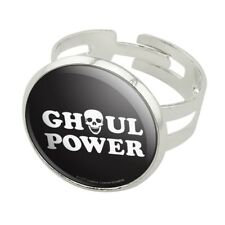 Ghoul Power Skull Girl Funny Humor Silver Plated Adjustable Novelty Ring