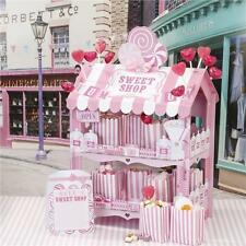STREET STALLS Pink & White Candy Stripe Retro 2 Tier Sweet Shop Stand Great for