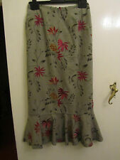 Green & Multicoloured Embroidered 100% Silk Maxi Skirt by Minuet in Size 6